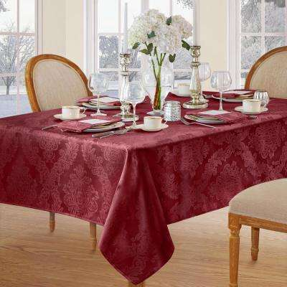 60 in. W x 120 in. L Burgundy Elrene Barcelona Damask Fabric Tablecloth