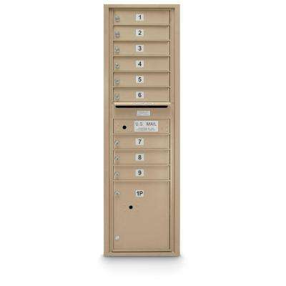 9-Door Standard 4C Mailbox with (1) Parcel-Door (Sandstone)