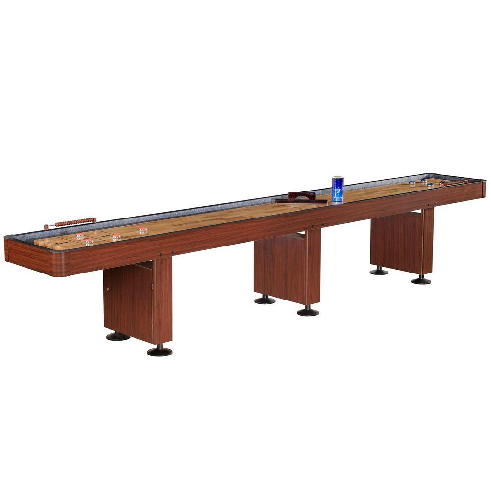 Shuffleboard Table W Dark Cherry Finish, Hardwood Playfield And  Storage BG1216   The Home Depot