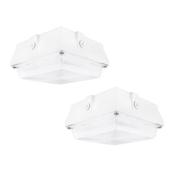 150-Watt Equivalent White Integrated Outdoor LED Security Light, 2200 Lumens, Ceiling/Canopy Security Lighting  (2-Pack)