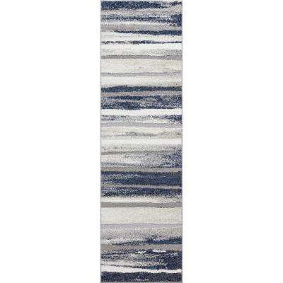 Charlotte Collection Retro Blue 2 ft. x 7 ft. 3 in. Runner Rug