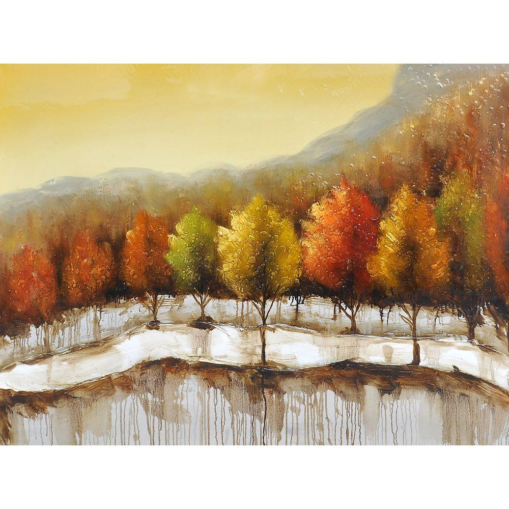 Yosemite Home Decor 48 in. x 36 in. Autumn in New York I Hand Painted Contemporary Artwork-DISCONTINUED