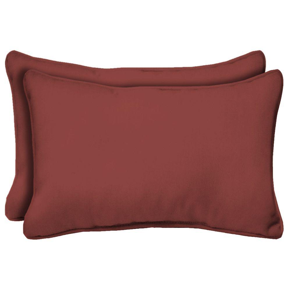 Hampton Bay Chili Solid Rectangular Lumbar Outdoor Pillow 2 Pack Ce01121b D9d2 The Home Depot