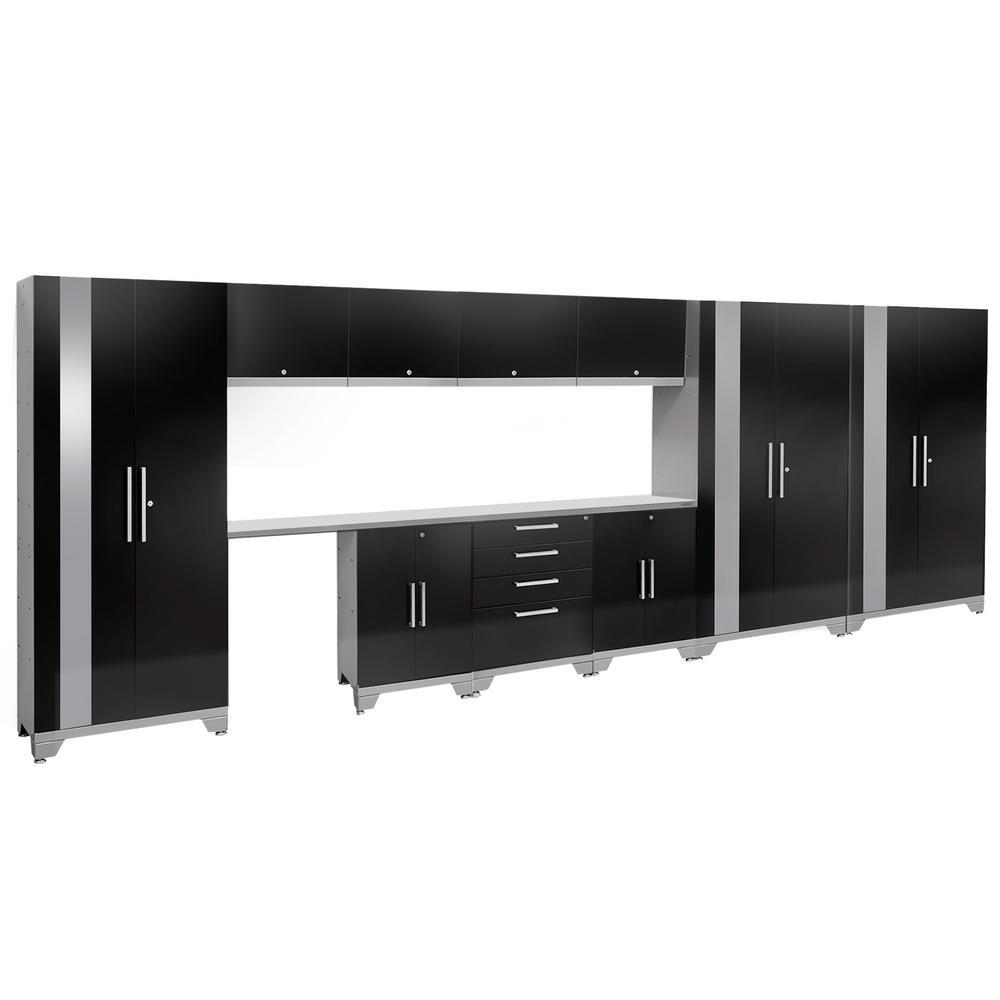 Performance 2.0 72 in. H x 186 in. W x 18 in. D Garage Cabinet Set in Black (12-Piece)