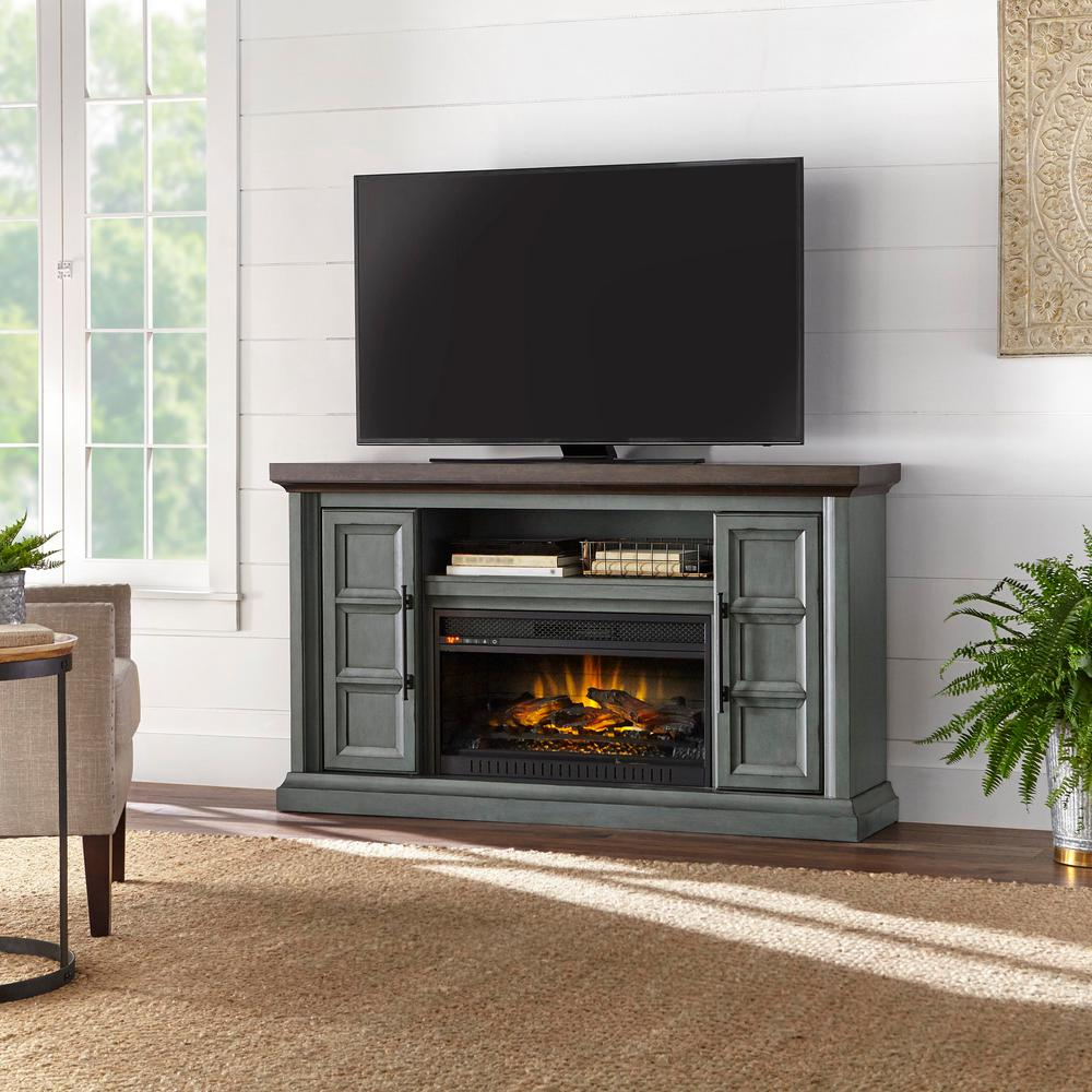 Belridge 63 in. Media Console Infrared Electric Fireplace in Dusty Pastel Blue with Chocolate Top Finish