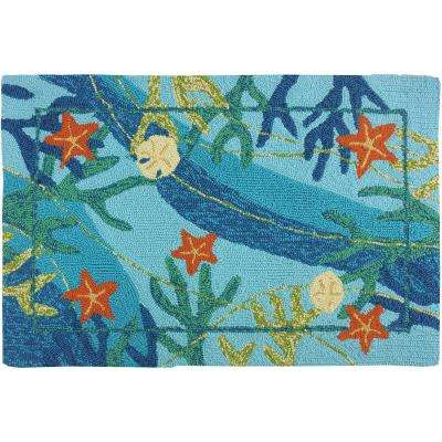 Underwater Coral and Starfish Blue 2 ft. x 3 ft. Indoor/Outdoor Area Rug