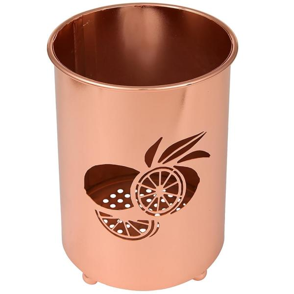 Deluxe Copper Plated Metal Utensil Holder Kitchen Tool Crock with Laser Cut Lemon Motif