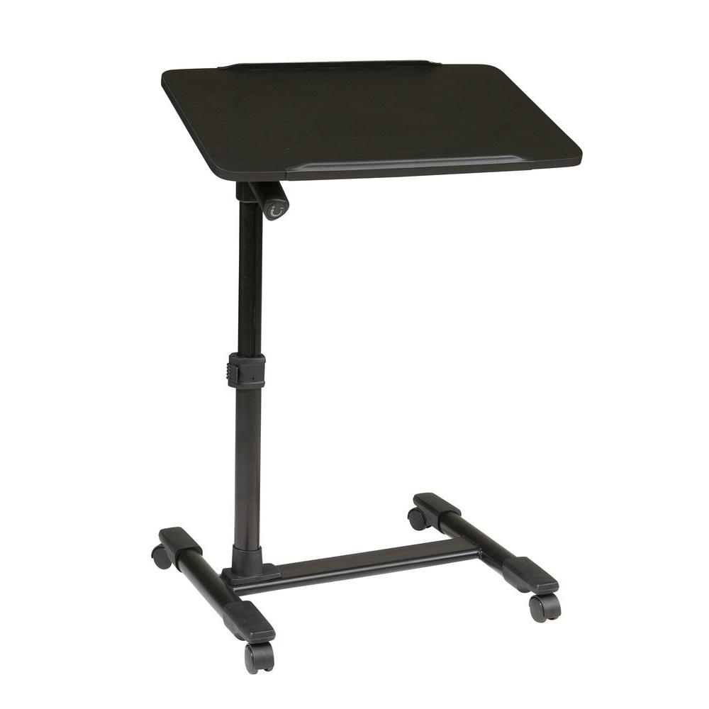 OSP Home Furnishings Black Laptop Desk Convenient and mobile, this Office Star Products Mobile Laptop Cart features a height adjustable top. The cart comes with four wheeled casters and a locking tilt mechanism for the top tilt. With several color options to choose from, it's sure to enhance the functionality and comfort of your home or office. Color: black.