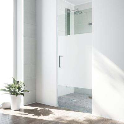 SoHo 28.5 in. x 70.625 in. Frameless Pivot Shower Door with Hardware in Chrome and Frosted Privacy Panel