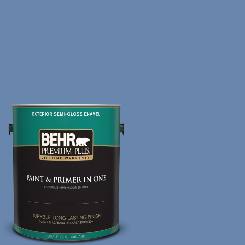 1-gal. #M530-5 Cowgirl Blue Semi-Gloss Enamel Exterior Paint