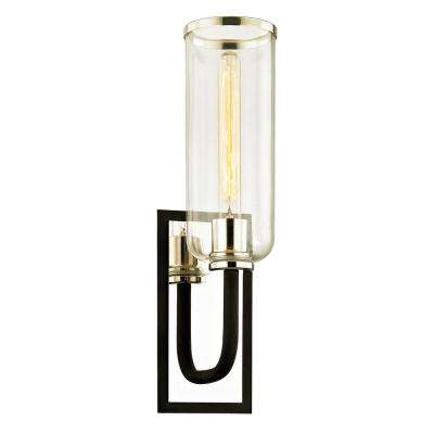 Aeon 1-Light Carbide Black 19.75 in. H Wall Sconce with Clear Glass