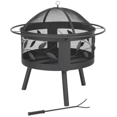 30 in. x 30 in. x 31 in. Round Steel Outdoor Wood and Coal Fire Bowl BBQ Fire Pit With Poker and Mesh Spark Screen Cover