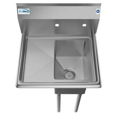 Freestanding Stainless Steel 23 in. 2-Hole Single Bowl Commercial Kitchen Sink