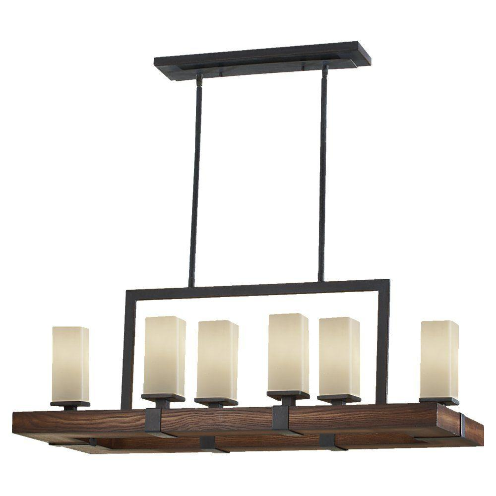 Feiss madera 6 light antique forged ironaged walnut island light feiss madera 6 light antique forged ironaged walnut island light aloadofball Images