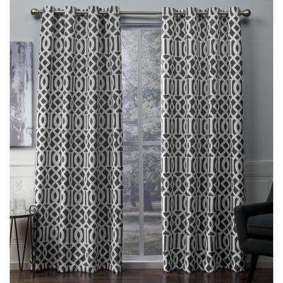 Scrollwork 52 in. W x 108 in. L Woven Blackout Grommet Top Curtain Panel in Black Pearl (2 Panels)