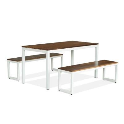 60 in. x 30 in. Loft White and Walnut Bench Dining Set