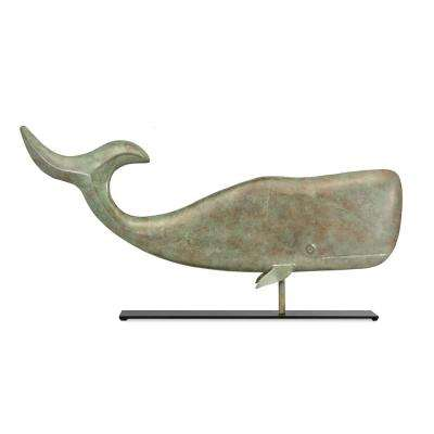 37 in. Whale Pure Copper Weathervane Sculpture on Mantel Stand