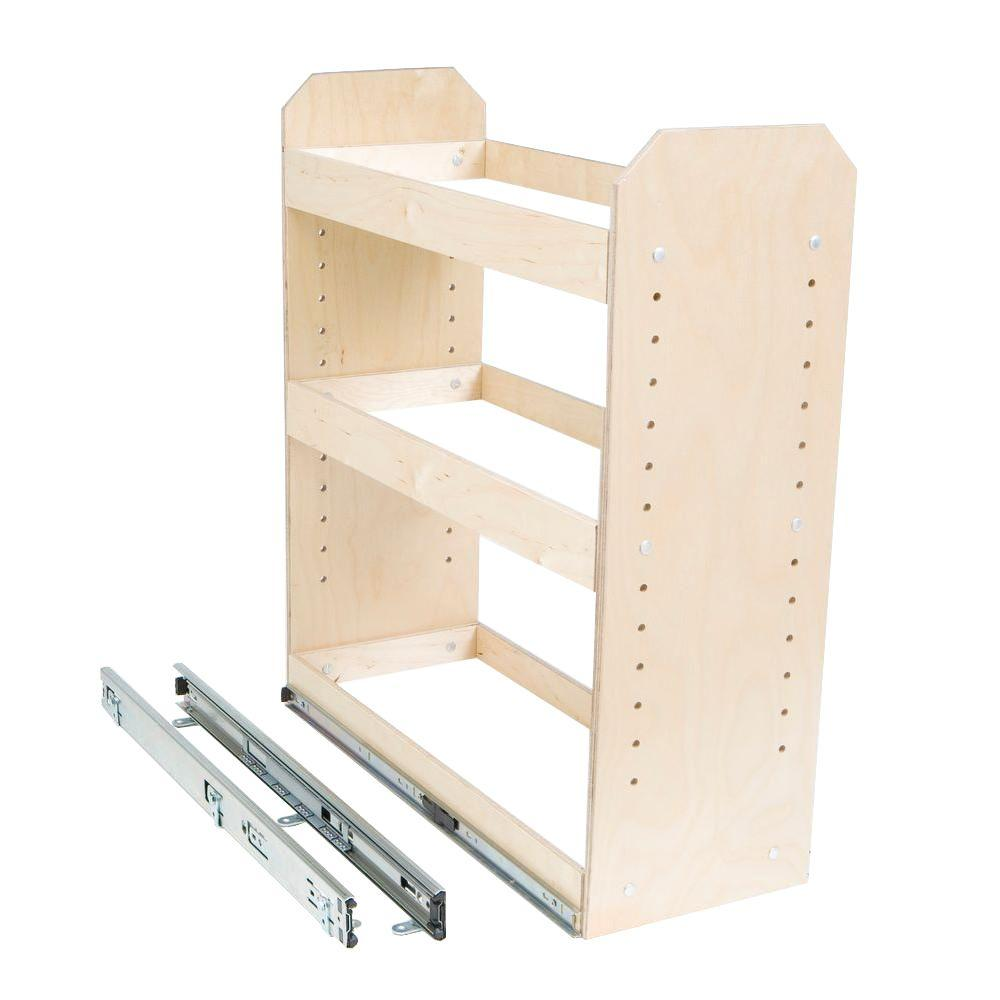 Slide A Shelf Made To Fit 6 In. To 12 In. Wide 3 Tier Adjustable Tower  Cabinet Organizer, Full Extension, Poly Finished Birch Wood SAS SI 3T   The  Home ...