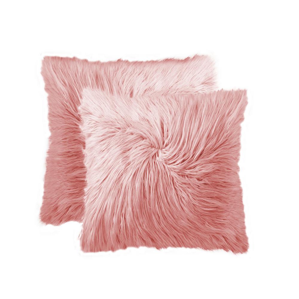Frisco Mongolian Dusty Rose 20 in. x 20 in. Faux Sheepskin Fur Pillow (2-Pack)