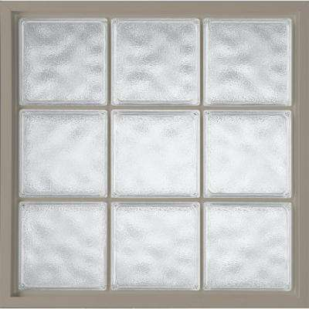 34 in. x 34 in. Acrylic Block Fixed Vinyl Window - Driftwood