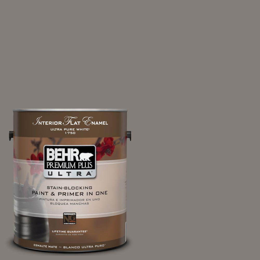 1 gal. #UL260-3 Suede Gray Flat Enamel Interior Paint and Primer