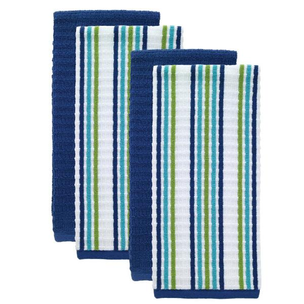 T-fal Blue Solid and Stripe Cotton Waffle Terry Kitchen Towel (Set of 4)