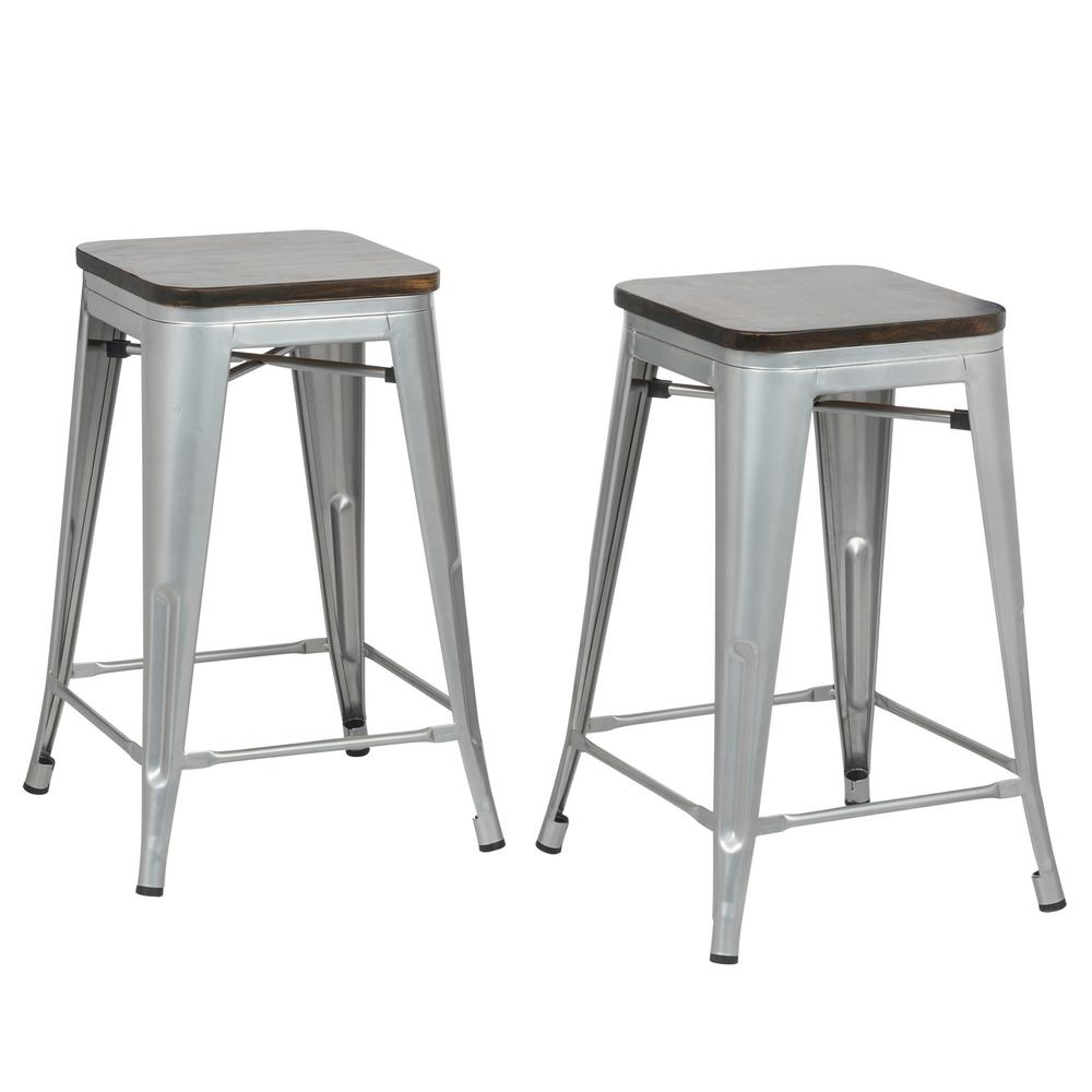 Carolina Forge Cormac 24 In Rustic Silver Seat Counter Stool Set