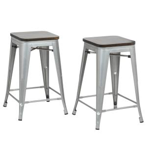 Super Cormac 24 In Rustic Silver Seat Counter Stool Set Of 2 Pdpeps Interior Chair Design Pdpepsorg