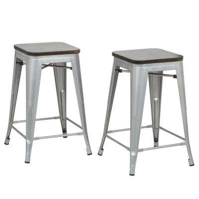 Cormac 24 in. Rustic Silver Seat Counter Stool (Set of 2)