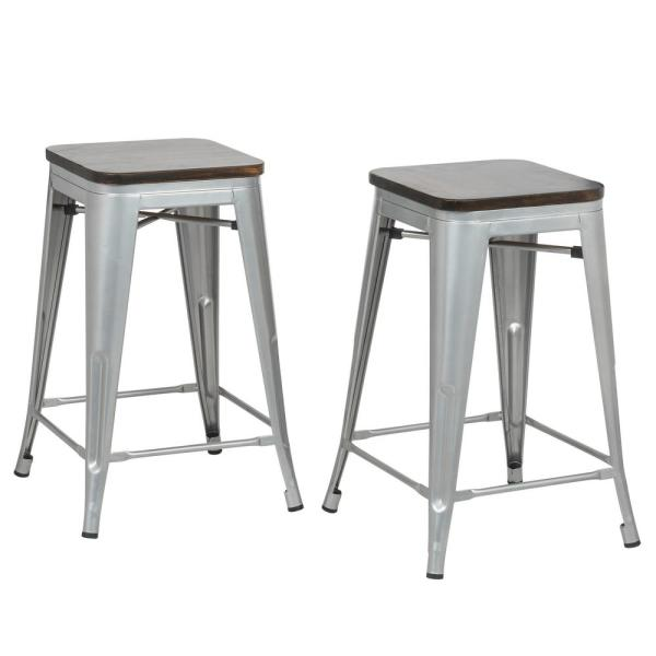 Carolina Forge Cormac 24 In. Rustic Silver Seat Counter Stool (Set Of 2)