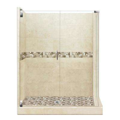 Tuscany Grand Hinged 36 in. x 42 in. x 80 in. Left-Hand Corner Shower Kit in Brown Sugar and Chrome Hardware