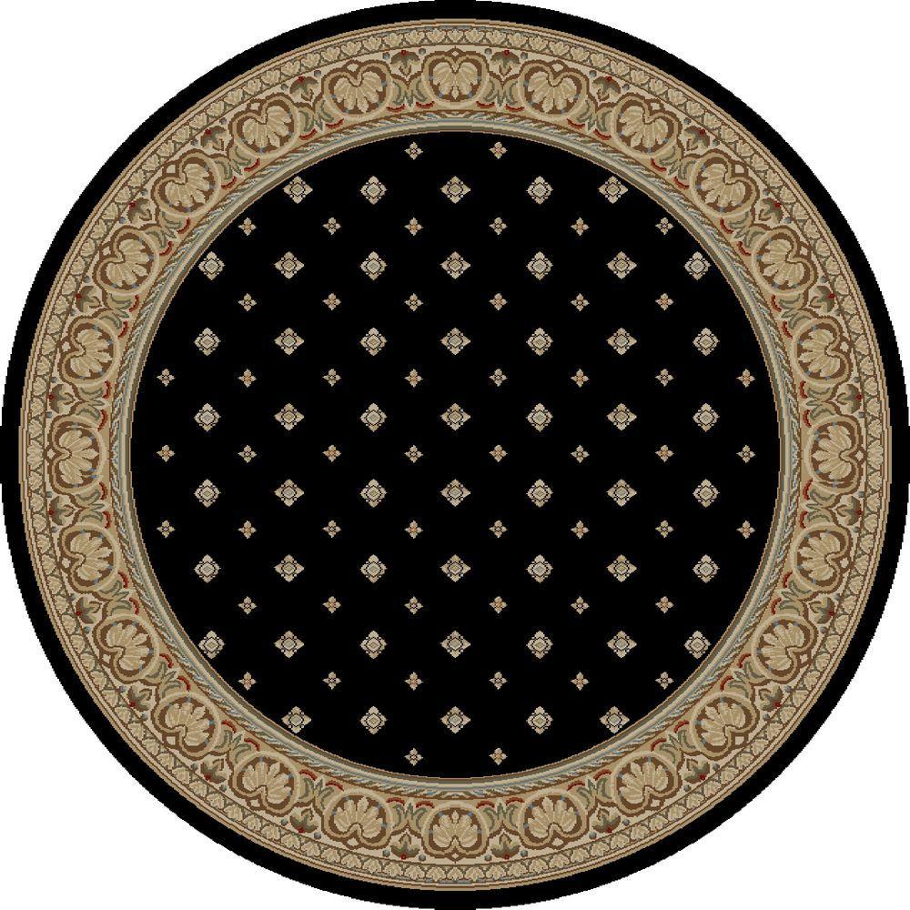 Ankara Pin Dot Black 5 ft. 3 in. Round Area Rug