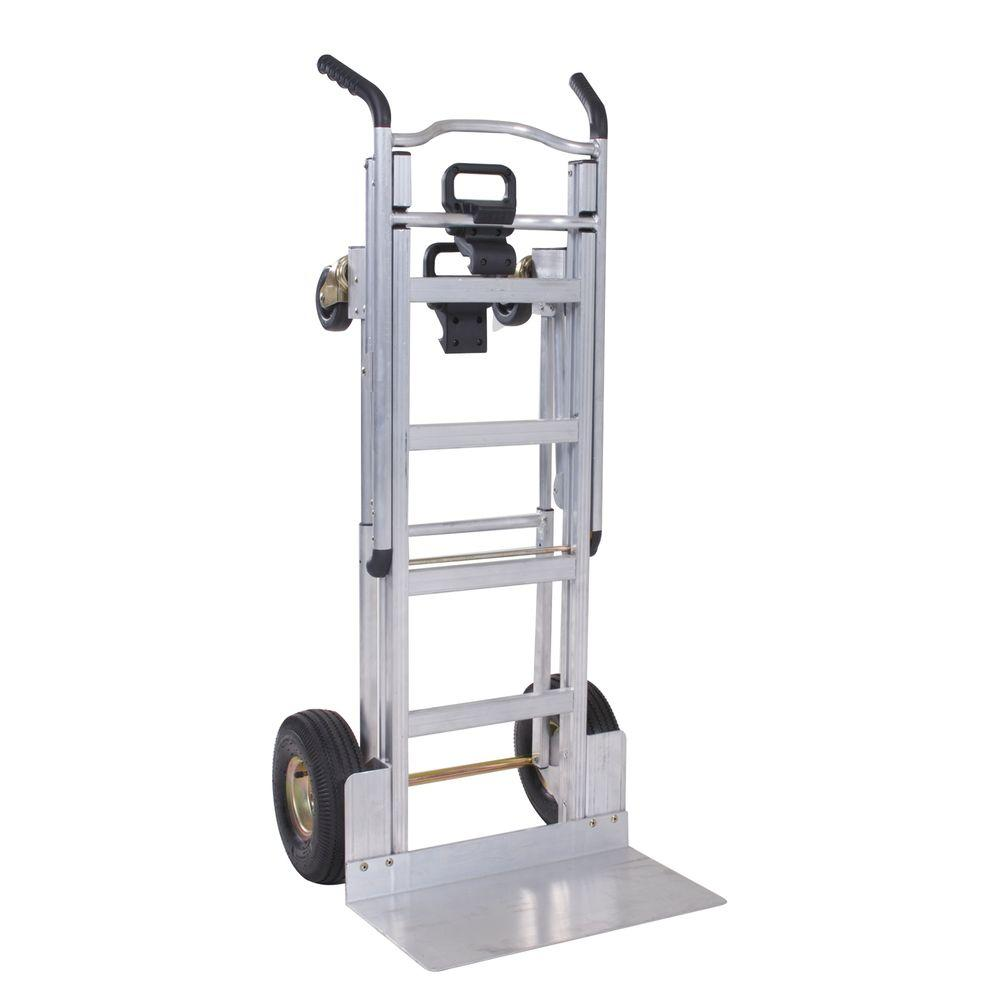 1000 lb. 3-In-1 Aluminum Assisted Hand Truck with Flat Free Wheels