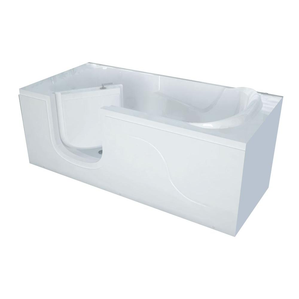Universal Tubs 5 ft. x 30 in. Left-Drain Walk-In Soaking Tub in White