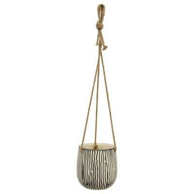5 in. Ceramic Hanging Planter in Black