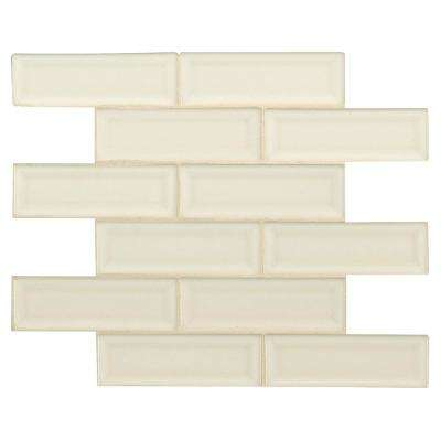 Antique White Beveled 12 in. x 12 in. x 10mm Ceramic Mesh-Mounted Mosaic Wall Tile (10 sq. ft. / case)
