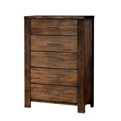 Elkton 5-Drawers Oak Transitional Style Chest