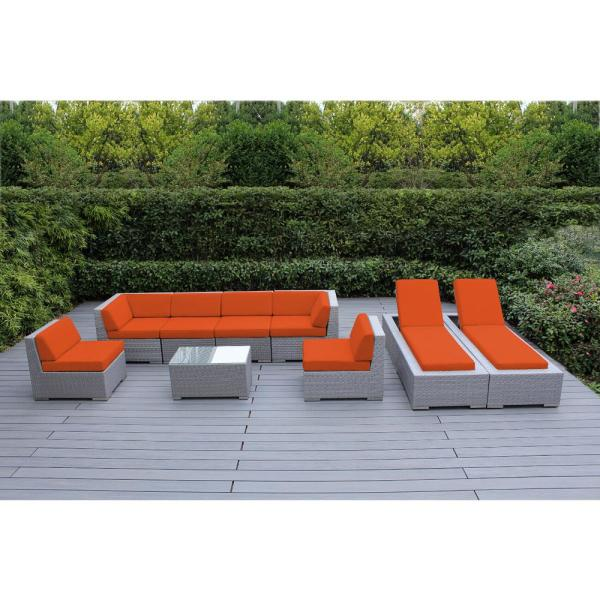 Gray 9-Piece Wicker Patio Combo Conversation Set with Supercrylic Orange Cushions
