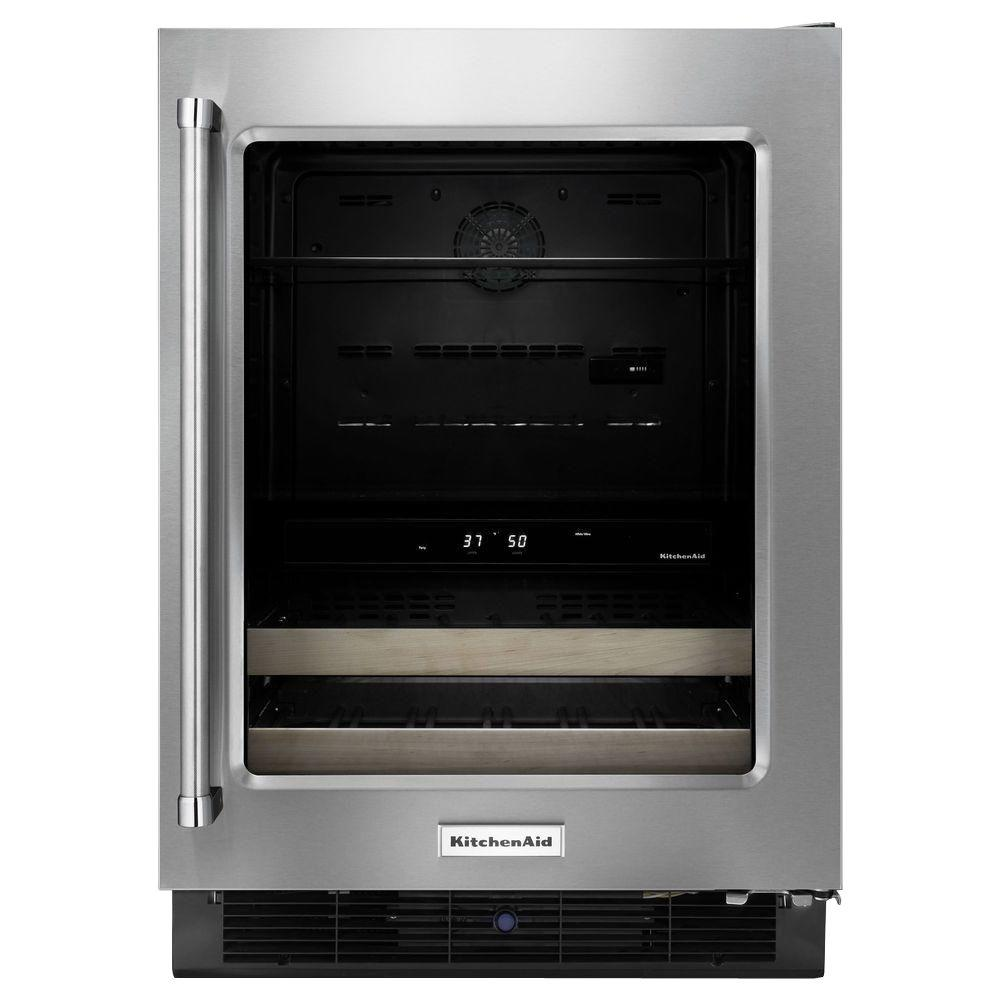 Kitchenaid 24 In W 14 Bottle Wine Cooler Kubr204esb The