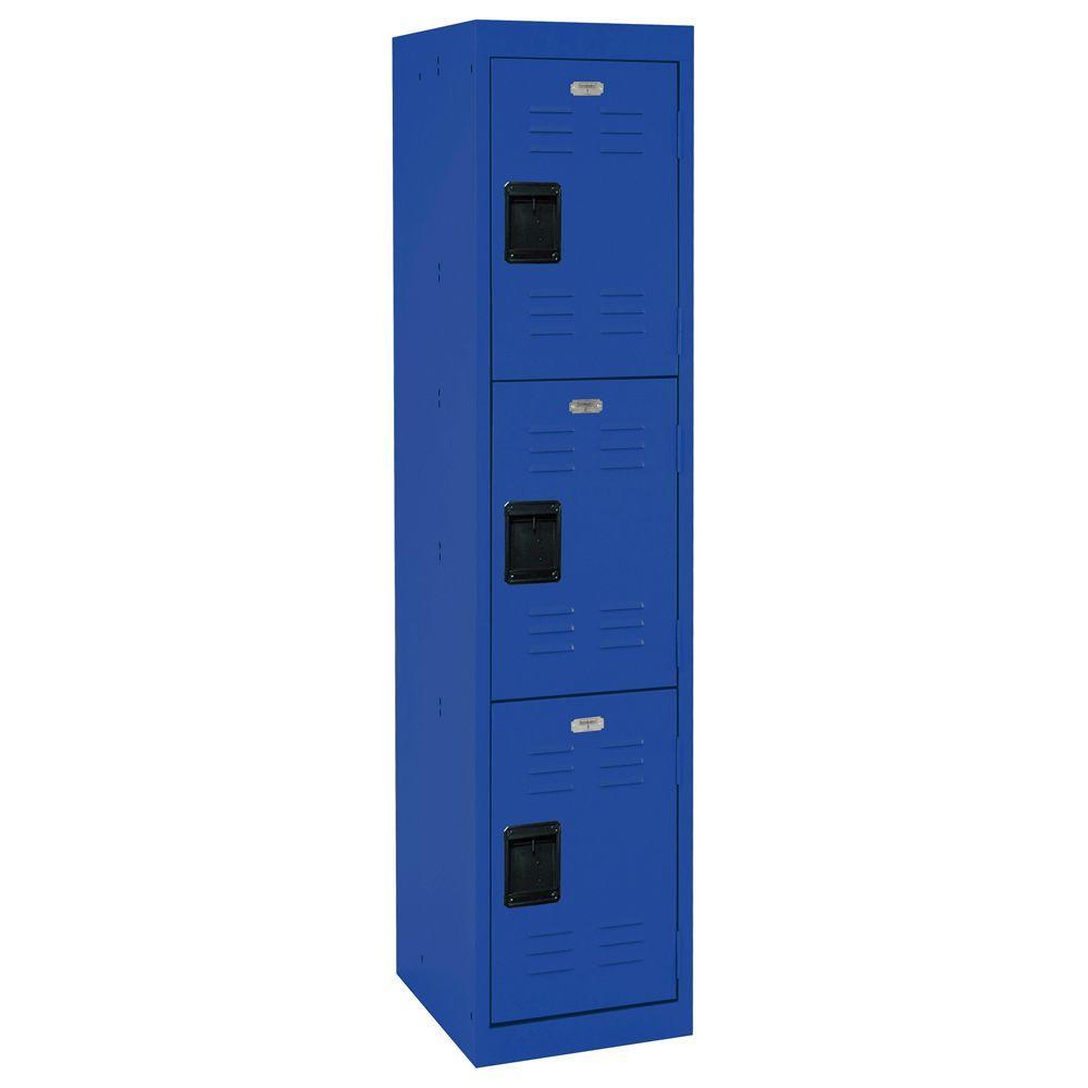 66 in. H x 15 in. W x 18 in. D 3-Tier Welded Steel Storage Locker in Blue
