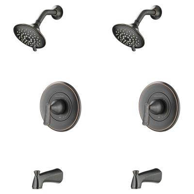 Chatfield Single-Handle 3-Spray Tub and Shower Faucet with 1.8 GPM (Set of 2) in Legacy Bronze (Valve Included)