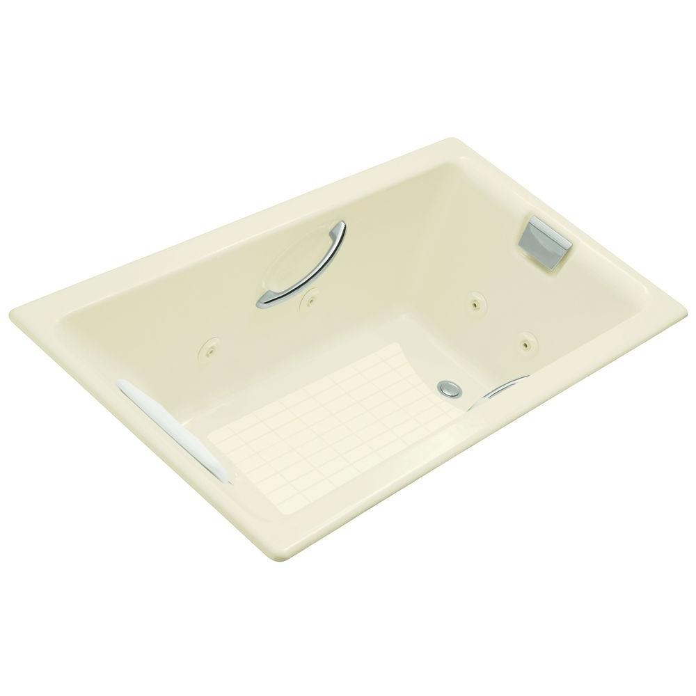 KOHLER Tea-for-Two 5.5 ft. Rectangle Whirlpool Tub in Biscuit