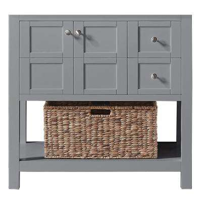 Makena 36 in. W x 22 in. D x 34.2 in. H Bath Vanity Cabinet Only in Taupe Grey