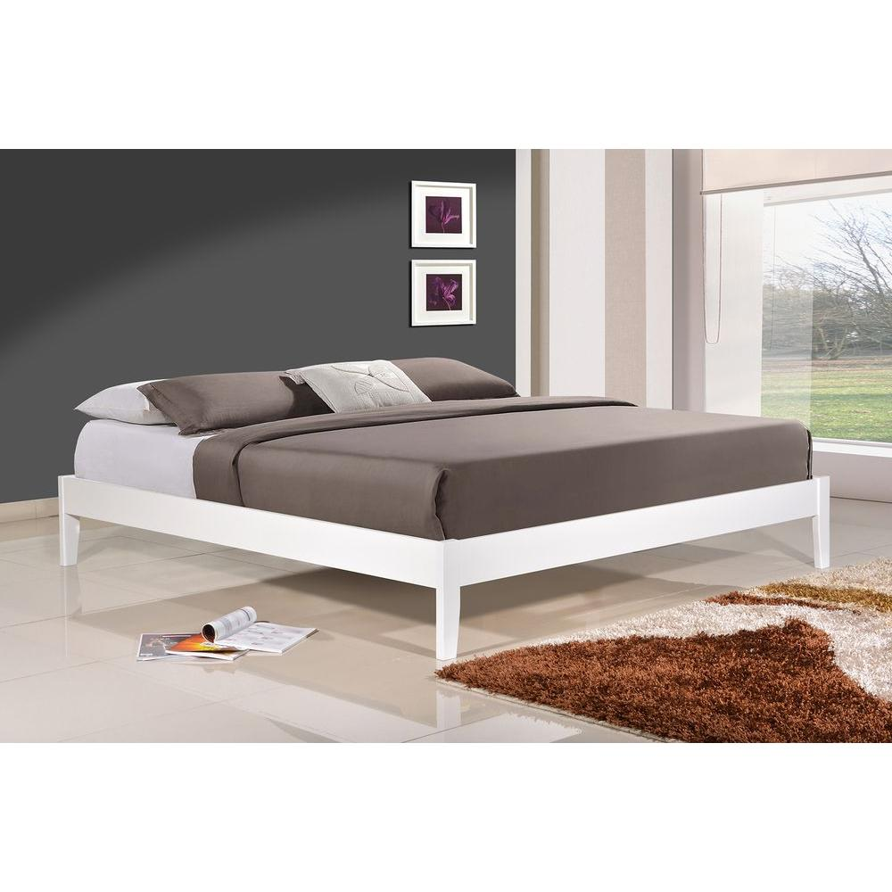 altos home manhattan queen wood platform bed alt q3342 wht the home depot - Wood Platform Bed Frame Queen
