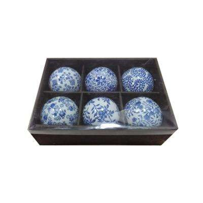 Ceramic Blue and White Orbs (Set of 6)