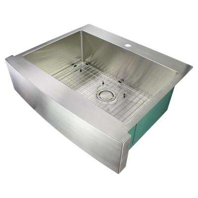 Diamond Farmhouse/Apron-Front Stainless Steel 30 in. 1-Hole Single Bowl Kitchen Sink in Brushed