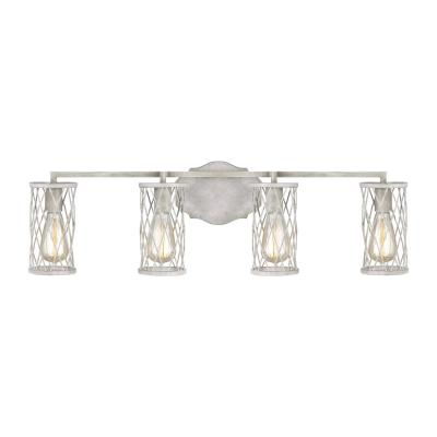 Cosette 4-Light French Washed Oak and Distressed White Wood Vanity Light