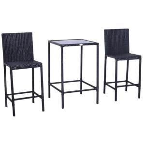 3-Piece Outdoor Patio Metal, Wicker, and Glass Top Bistro Dining Set