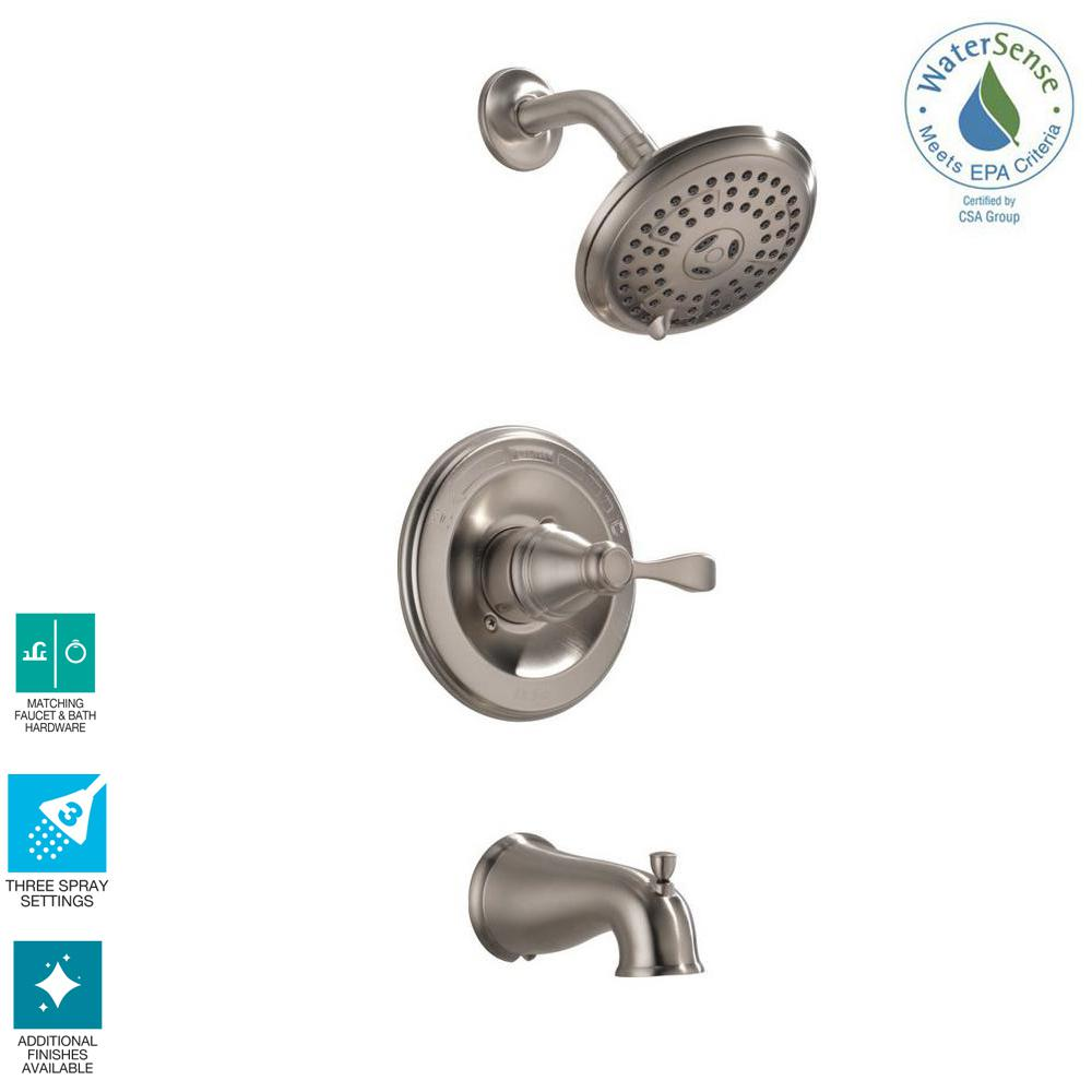 Delta Porter Single-Handle 3-Spray Tub and Shower Faucet in Brushed Nickel (Valve Included)