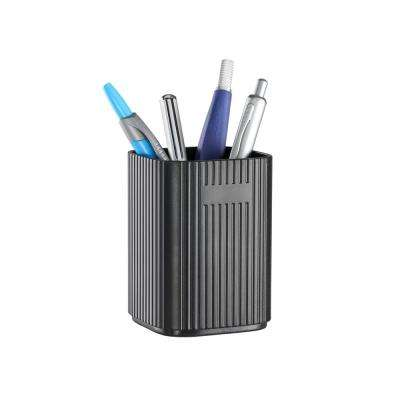 OMD, Smart tower Pencil cup, desk organizer with two USB charging ports in Black
